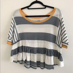 Free people striped shirt, yellow & gray, small